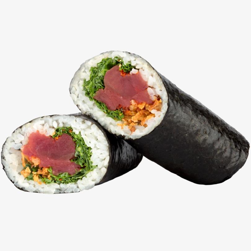 Sushi burrito de atún picante