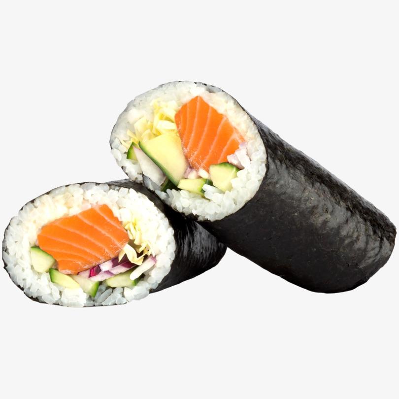 Sushi burrito de salmón